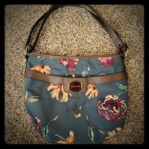 💚ROSETTI PURSE floral navy blue & brown LIKE NEW